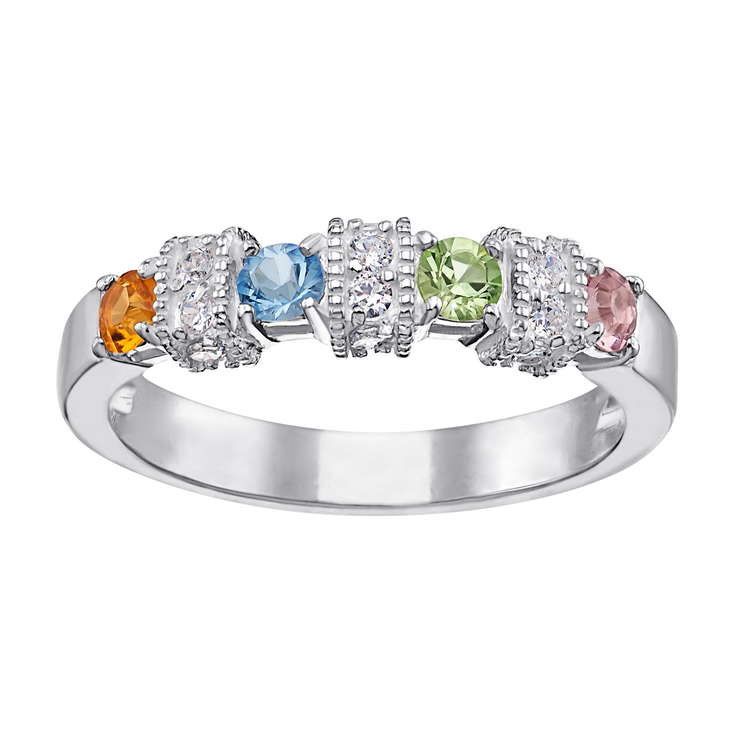 Sterling Silver Mother S Antique Birthstone Amp Cz Ring