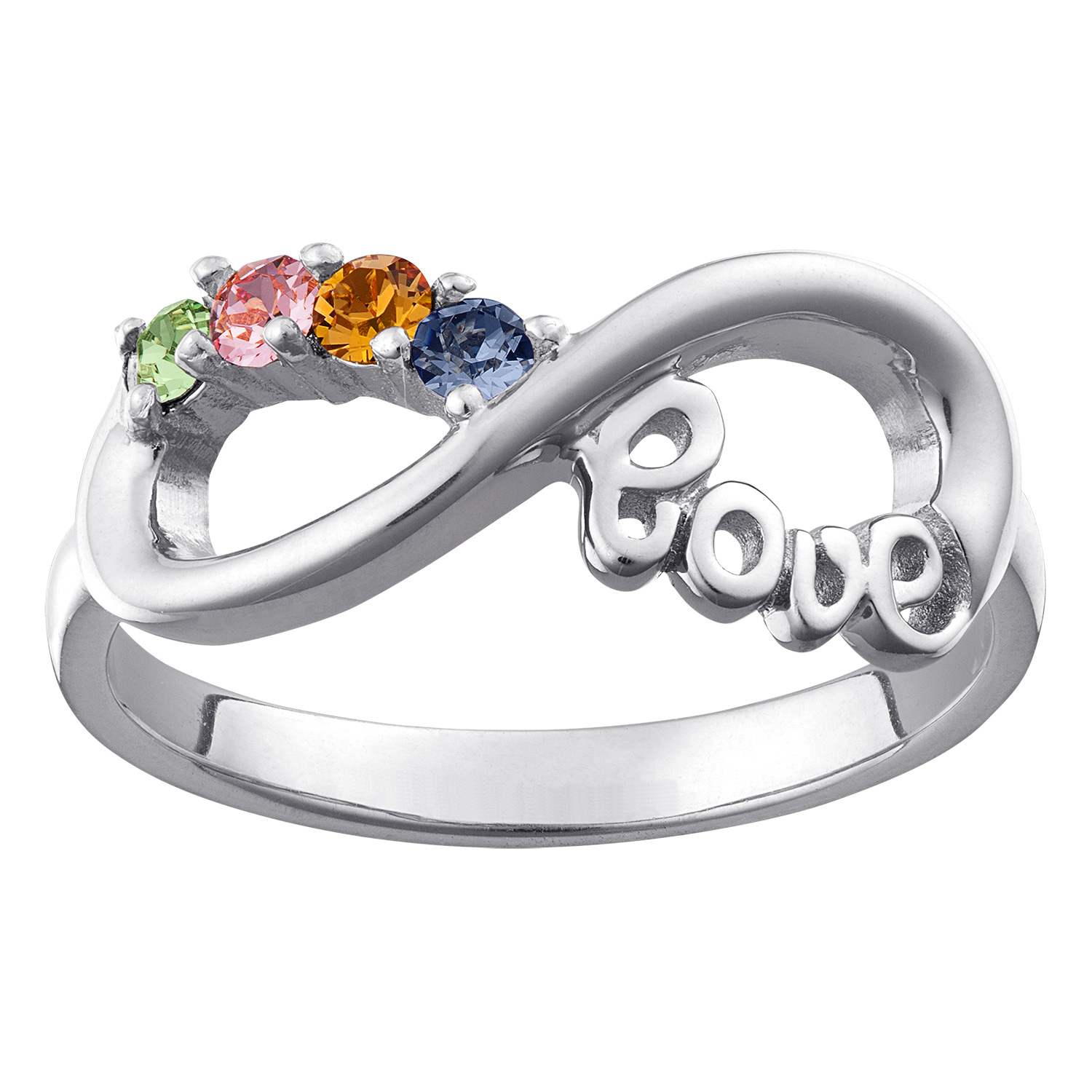 sterling silver infinity love birthstone ring 4 stones 39564 limoges jewelry. Black Bedroom Furniture Sets. Home Design Ideas
