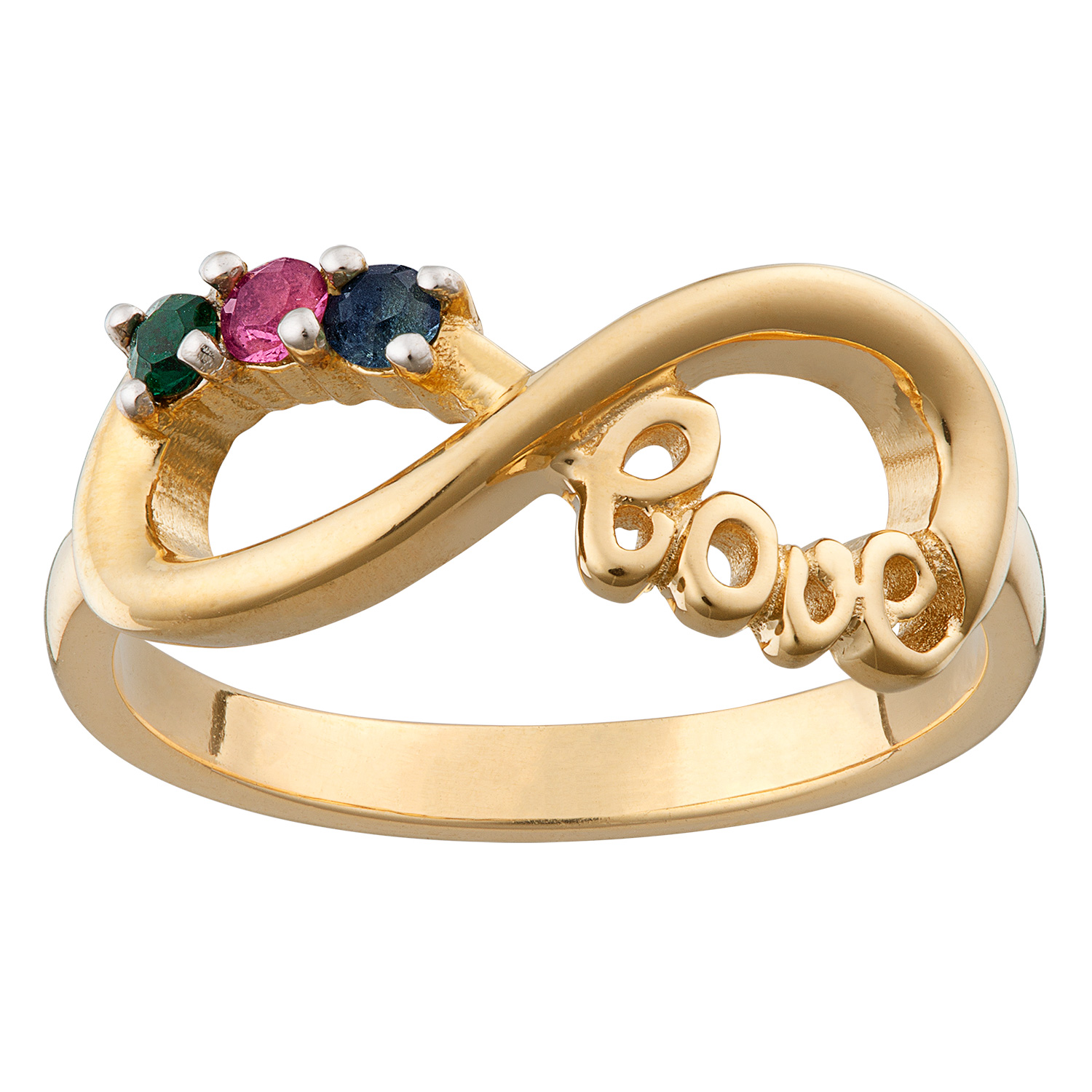 Gold Over Sterling Silver Infinity Love Family 3 Stone