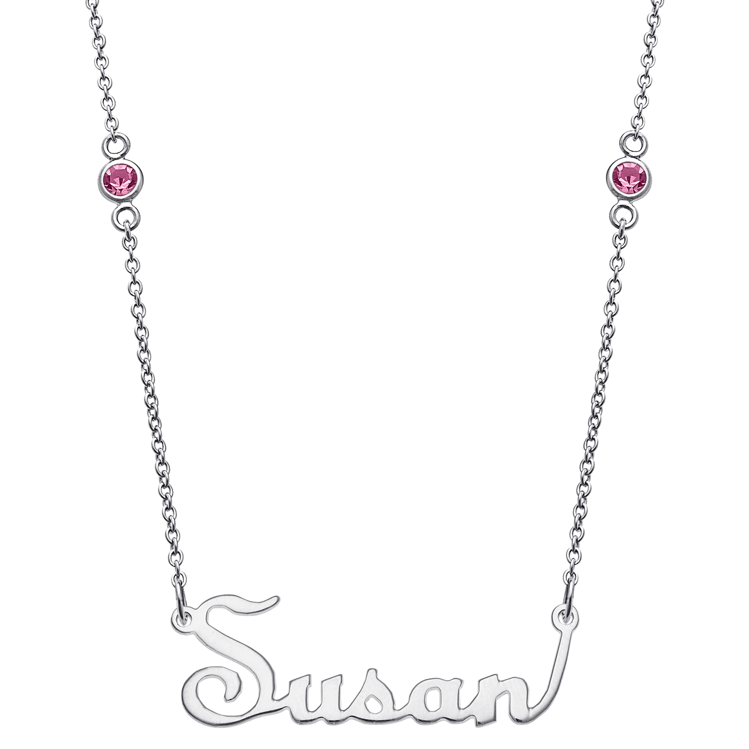 Sterling Silver Upright Script Name Pendant On Birthstone