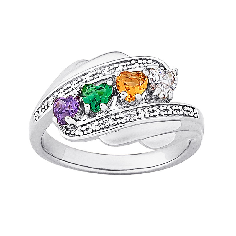 Sterling Silver Mother S Heart Family Birthstone Ring With