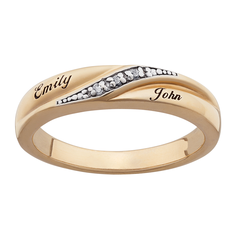 10K Gold Ladies Engraved Name Diamond Wedding Band - 22366 ...