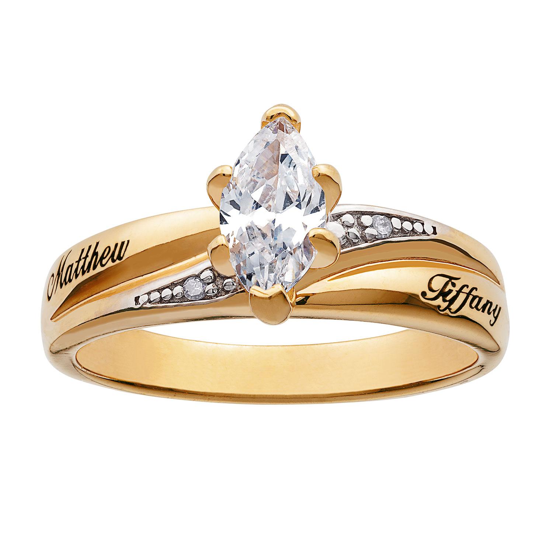 10K Gold Marquise CZ & Diamond Engraved Name Wedding Ring ...