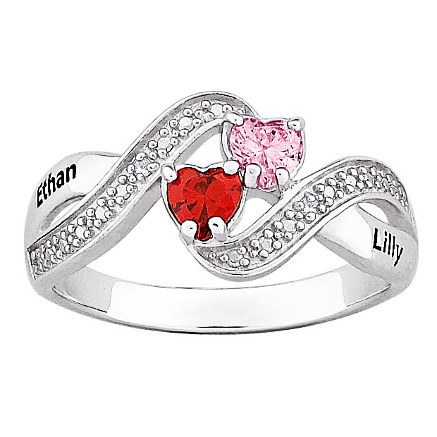 Sterling Silver Couples Name Amp Birthstone Hearts Diamond