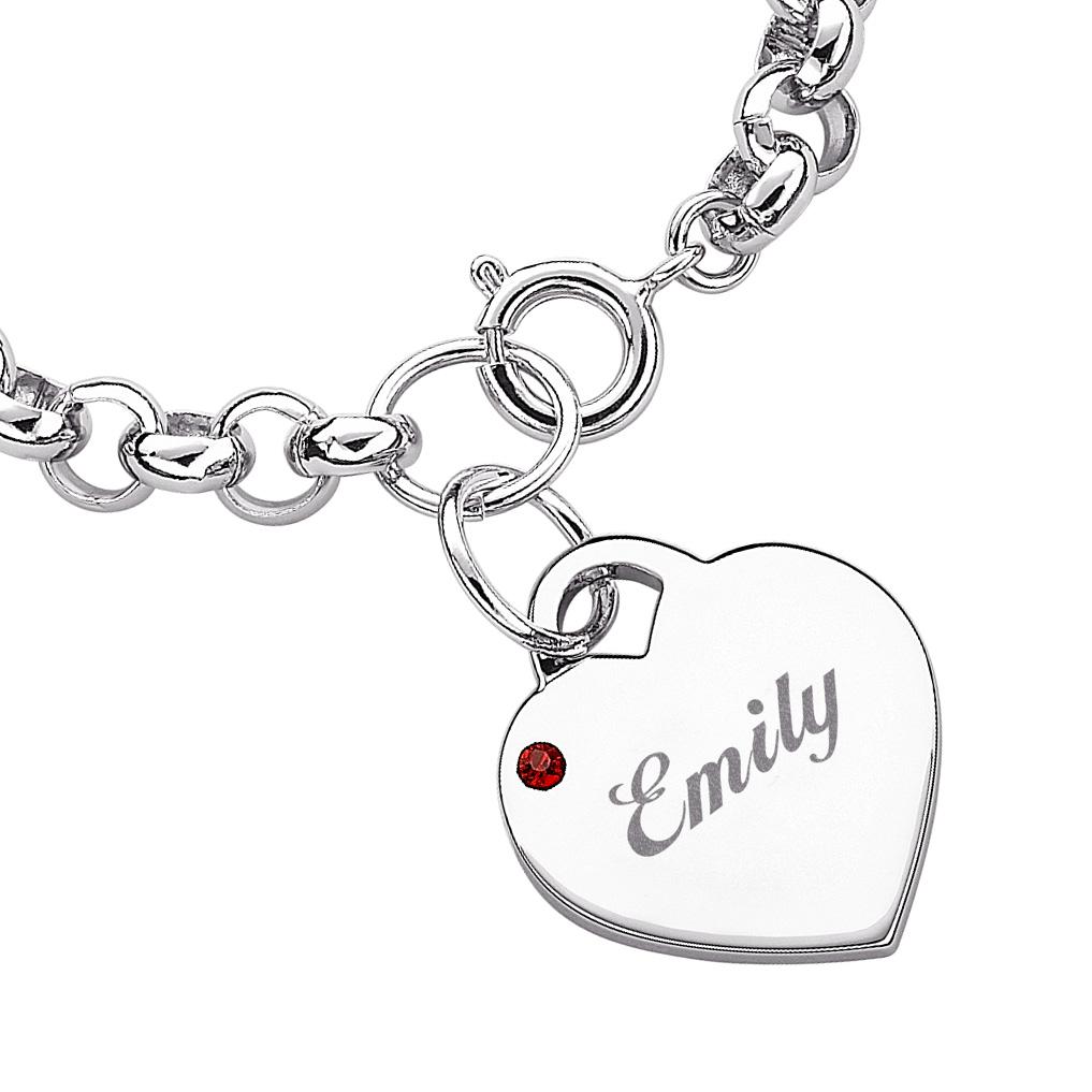 Engraved Charm Bracelet: Engraved Birthstone Heart Charm Bracelet - 36309