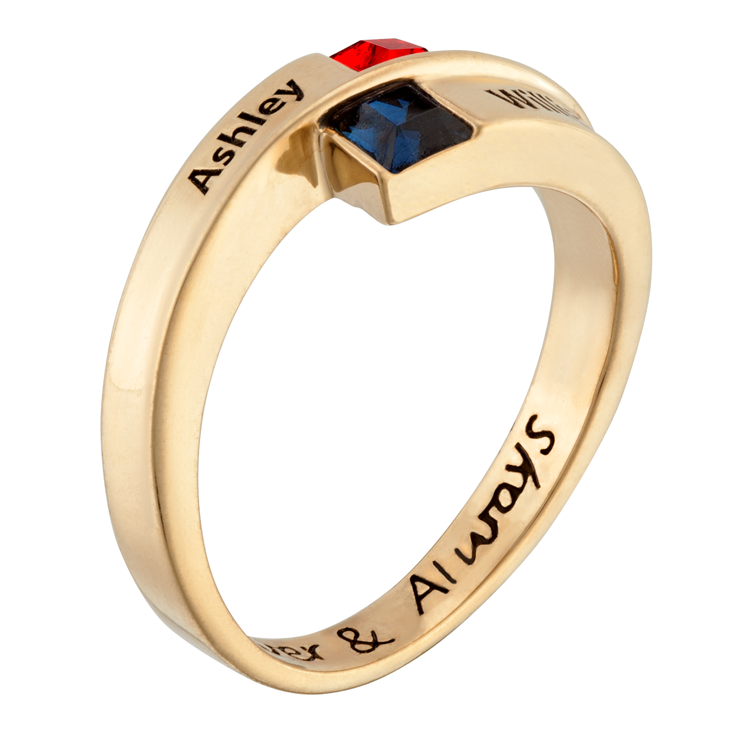 Gold over Sterling Couple's Square Birthstone and Name ...