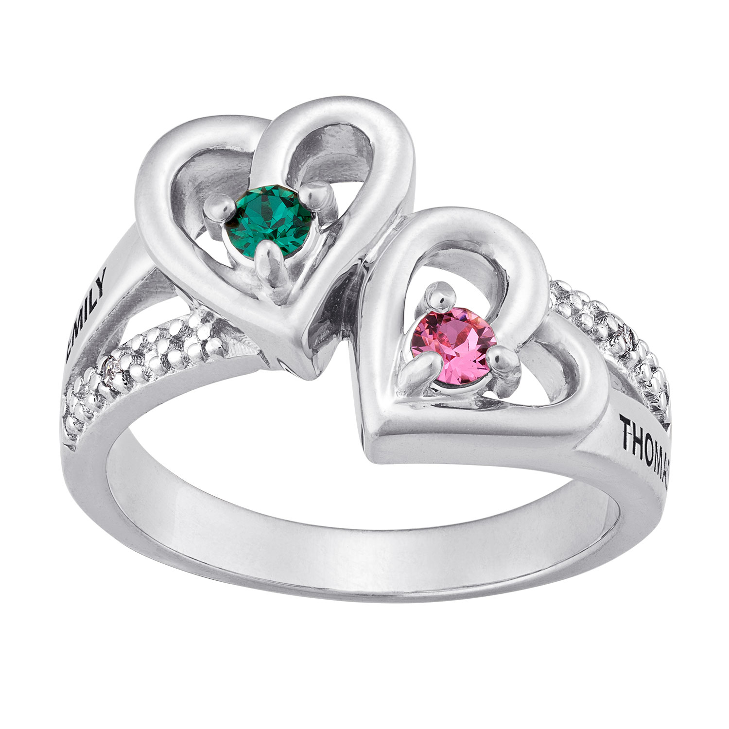 Silvertone Couples Birthstone Hearts Name Ring with ...