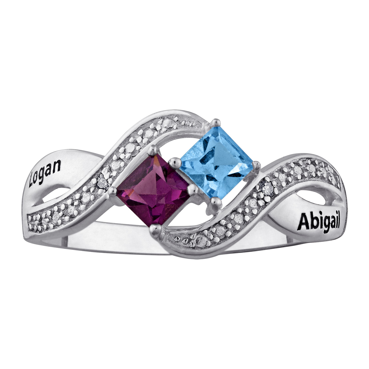 Sterling Silver Engraved Couple's Princess-Cut Birthstone ...