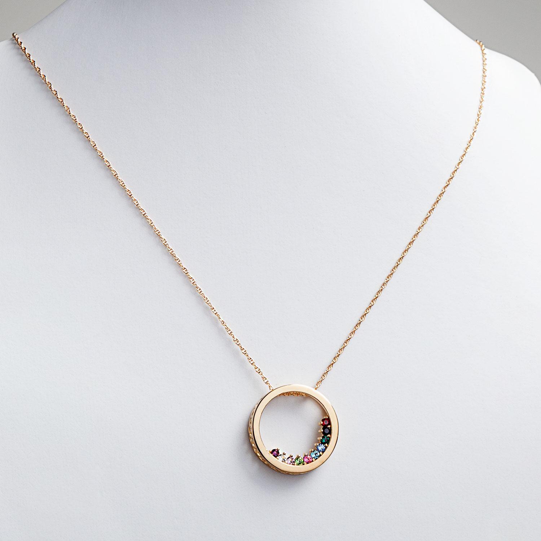 Circle Slider Birthstone Necklace for Mom