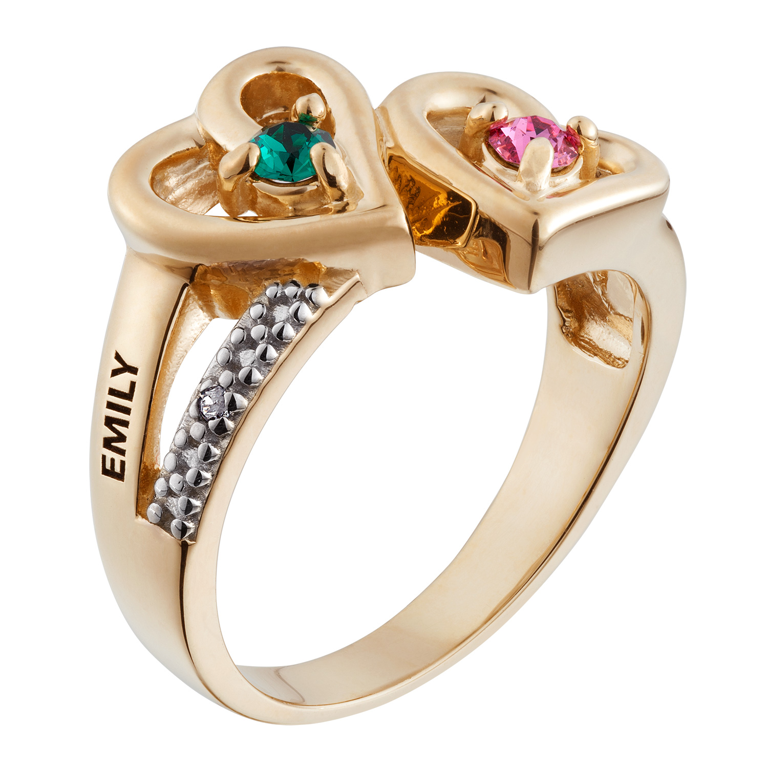 Gold Over Sterling Couple's Birthstone Name Ring with ...
