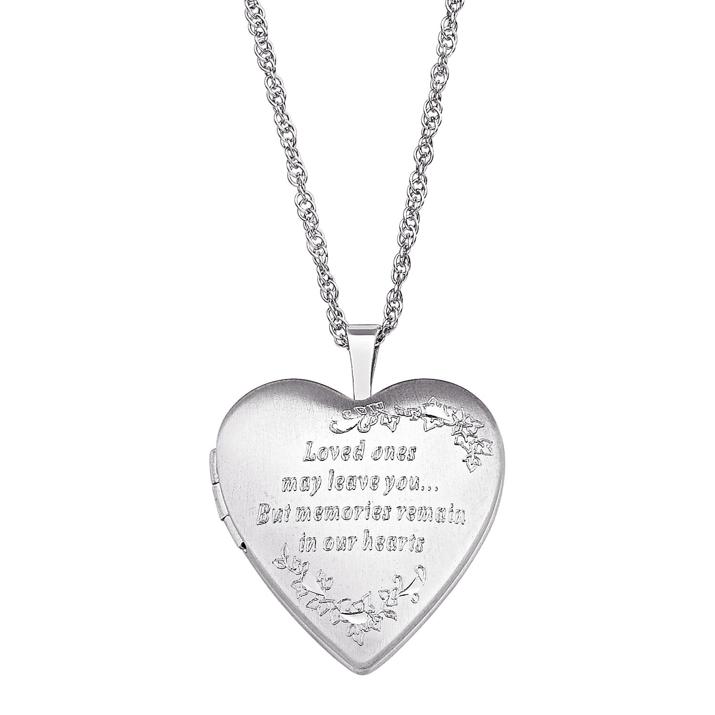 Sterling Silver Engraved Memorial Locket Necklace 38676