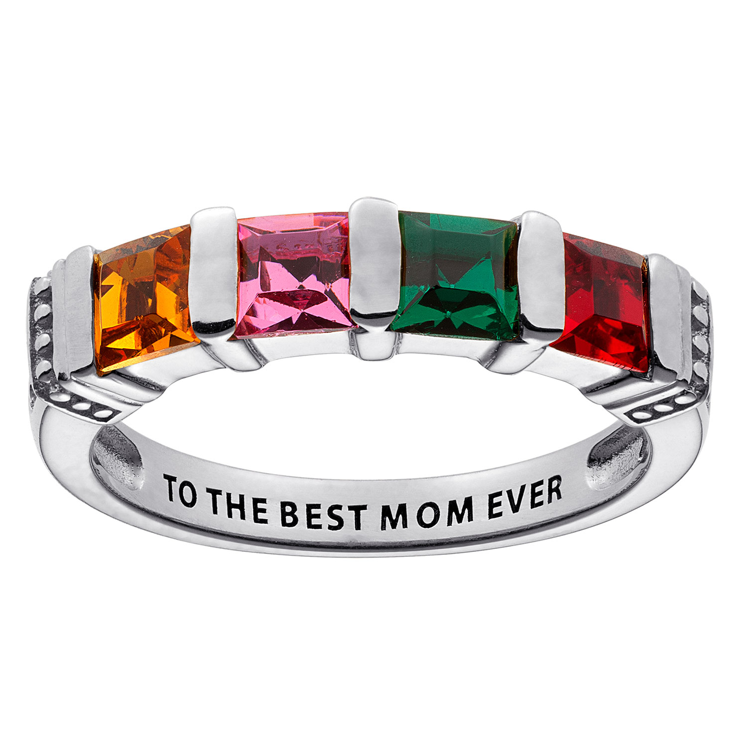 Sterling Silver Square Birthstone Ring 4 Stones 39846