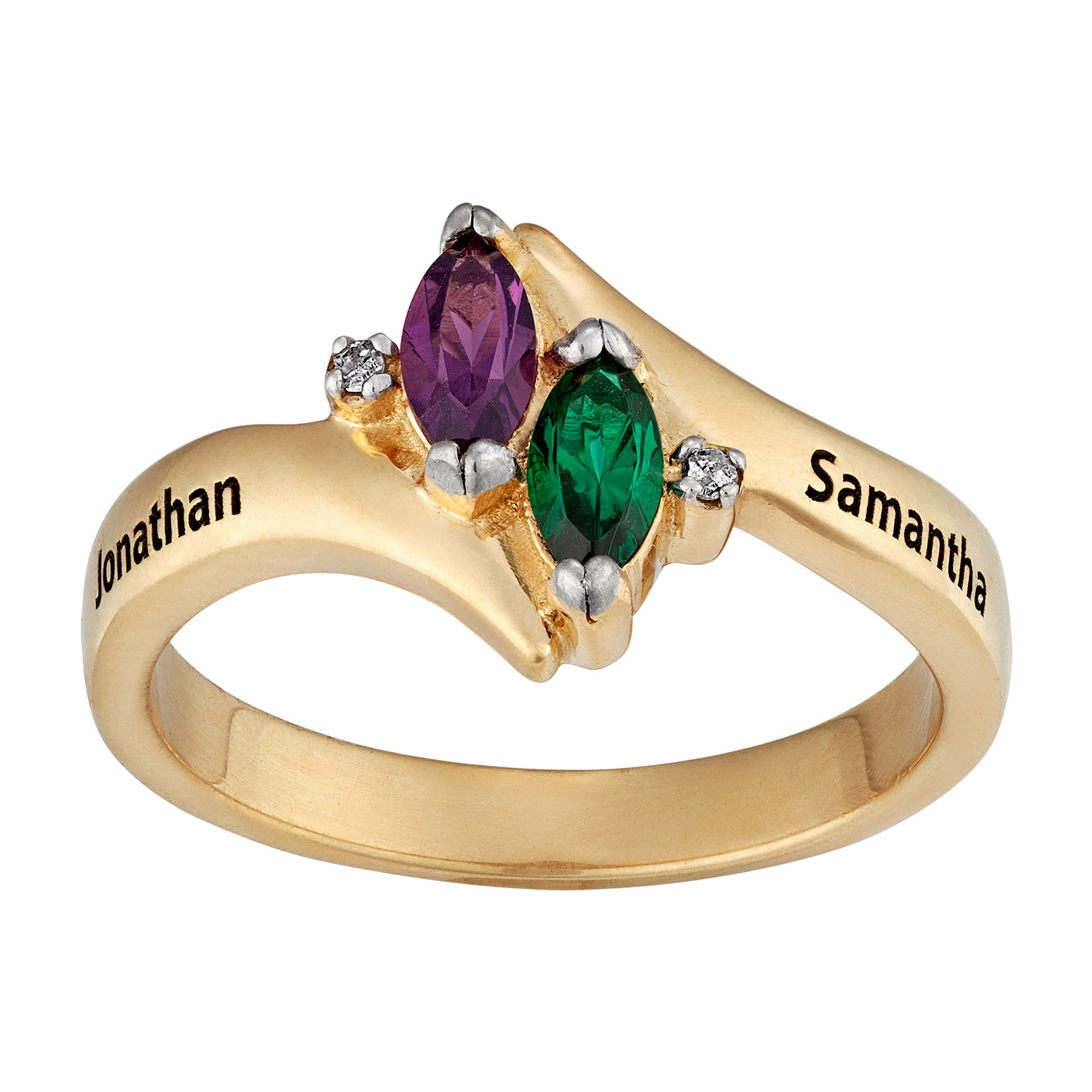 10K Gold Couples Marquise Birthstone & Name Ring with ...