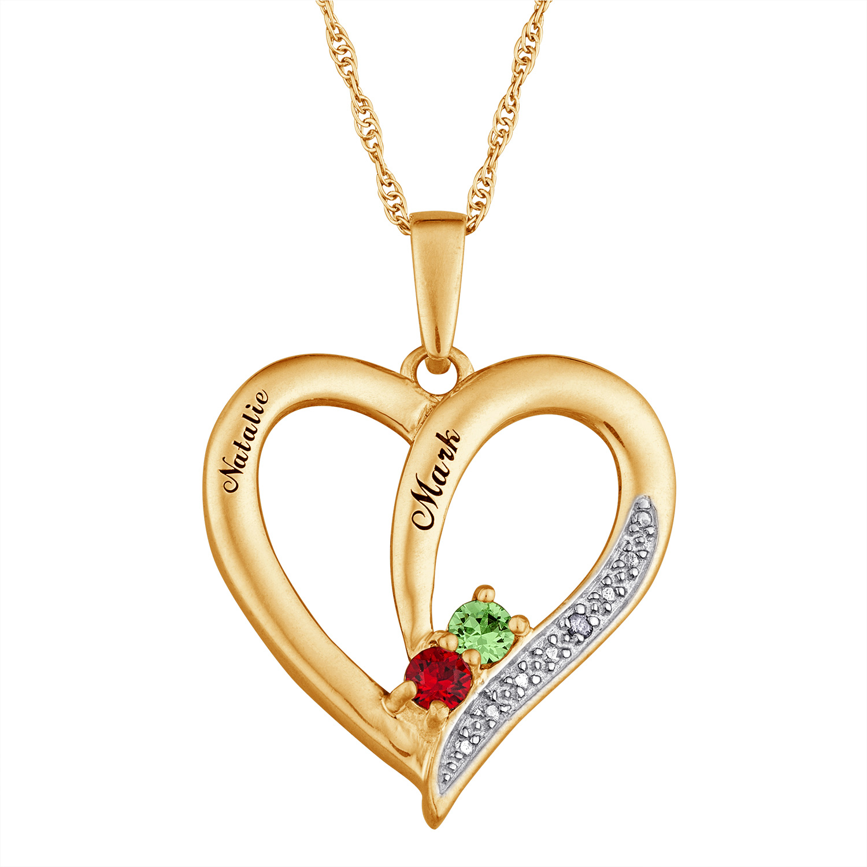10K Gold Couples Heart Birthstone Pendant with Diamond ...