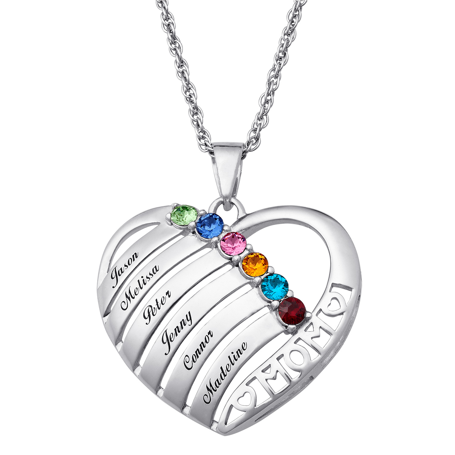 Engraved Heart Family Birthstone Necklace for Mom