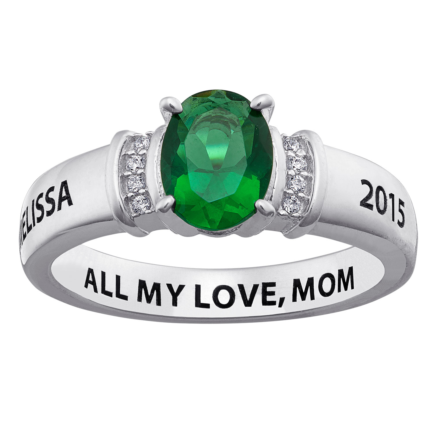 Graduation Sterling Silver Oval Birthstone Class Ring With