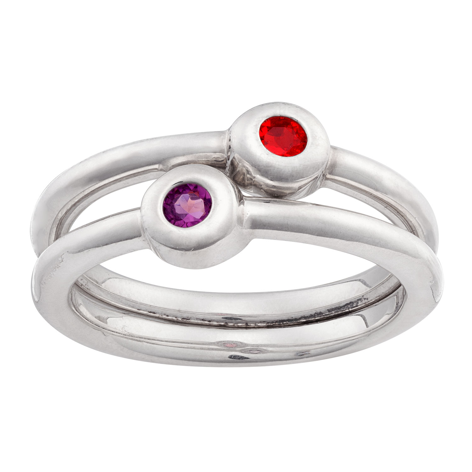 Sterling Silver Stackable Birthstone Rings Set Of 2