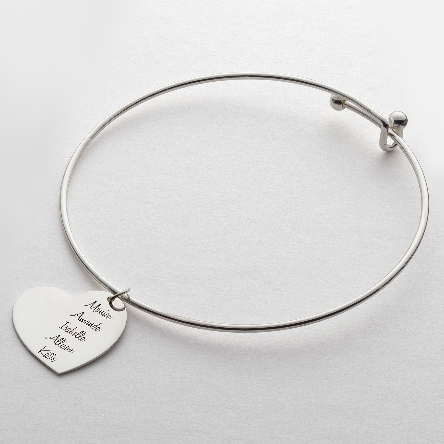 Expandable Charm Bracelets: Expandable Bangle Bracelet With Sterling Silver Family