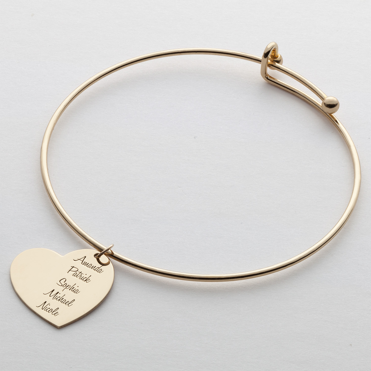 Expandable Charm Bracelets: Expandable Bangle Bracelet With Personalized Sterling