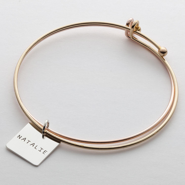 Square Charm Bracelet: Expandable Double Bracelet With Sterling Silver Square