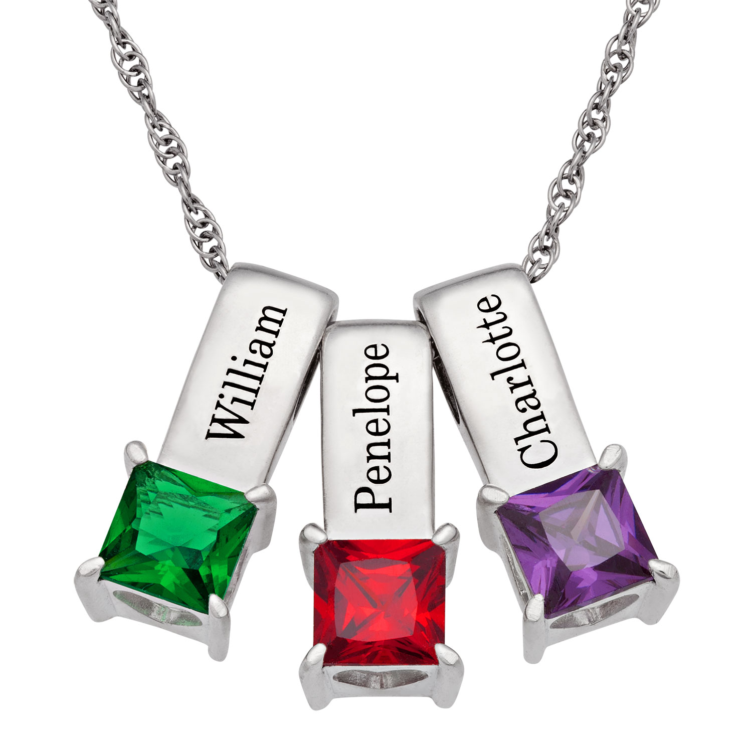 Sterling Silver Personalized Name And Birthstone 3 Piece