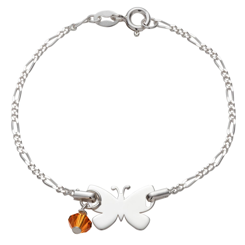 Sterling Silver Butterfly Birthstone Bracelet 42405