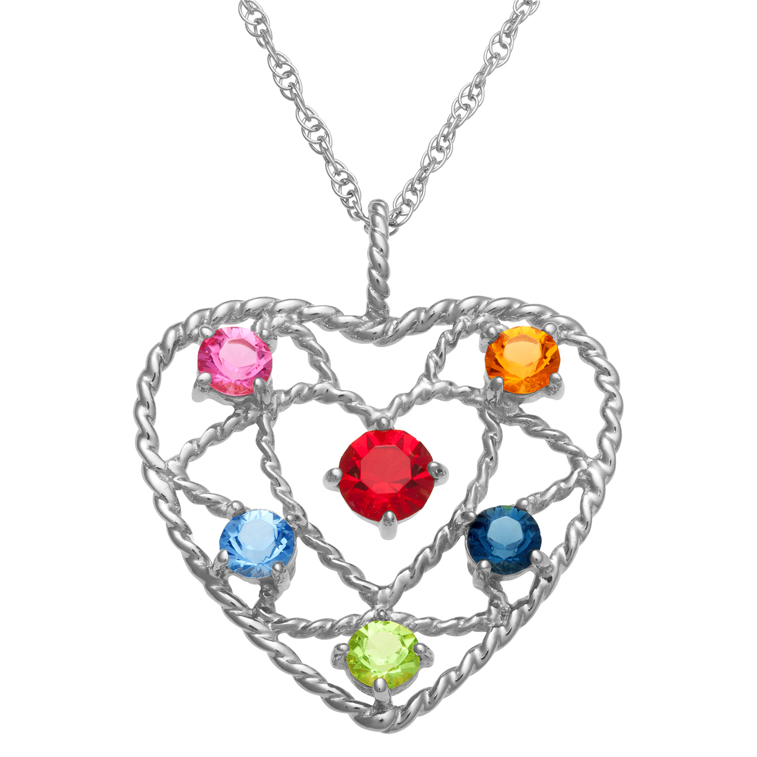 Sterling Silver Family Heart Birthstone Rope Pendant