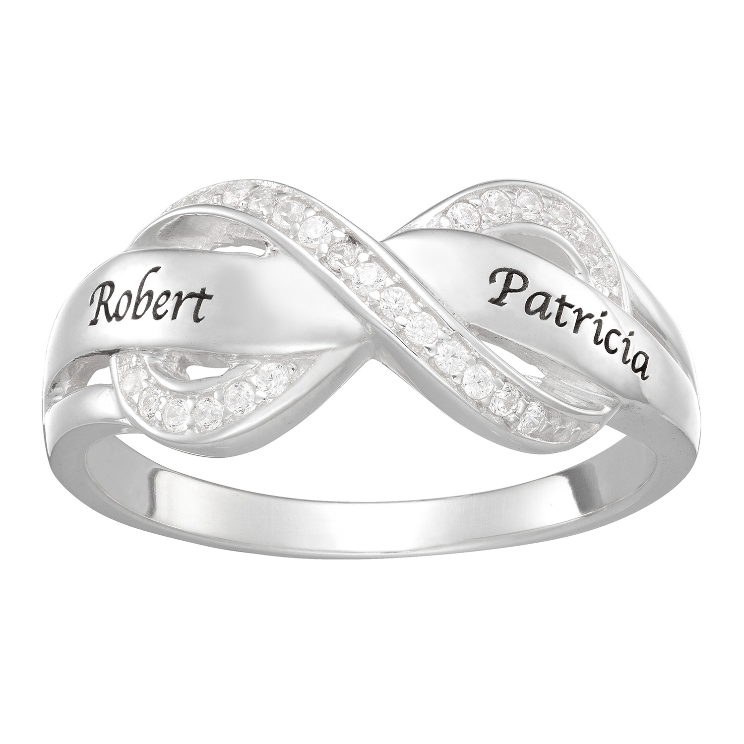 Sterling Silver Couples Engraved Name Infinity CZ Ring ...