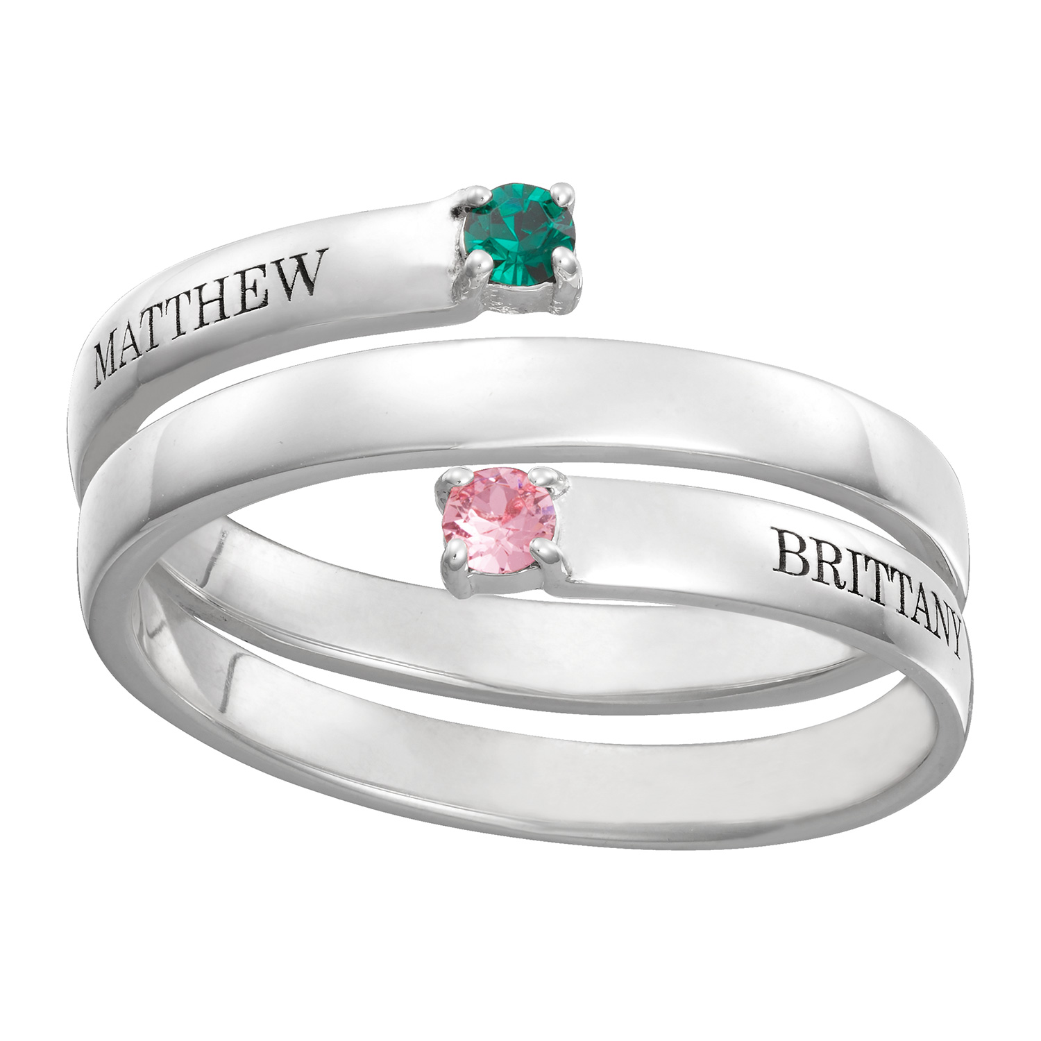 Sterling Silver Couple's Engraved Birthstone Wrap Ring ...
