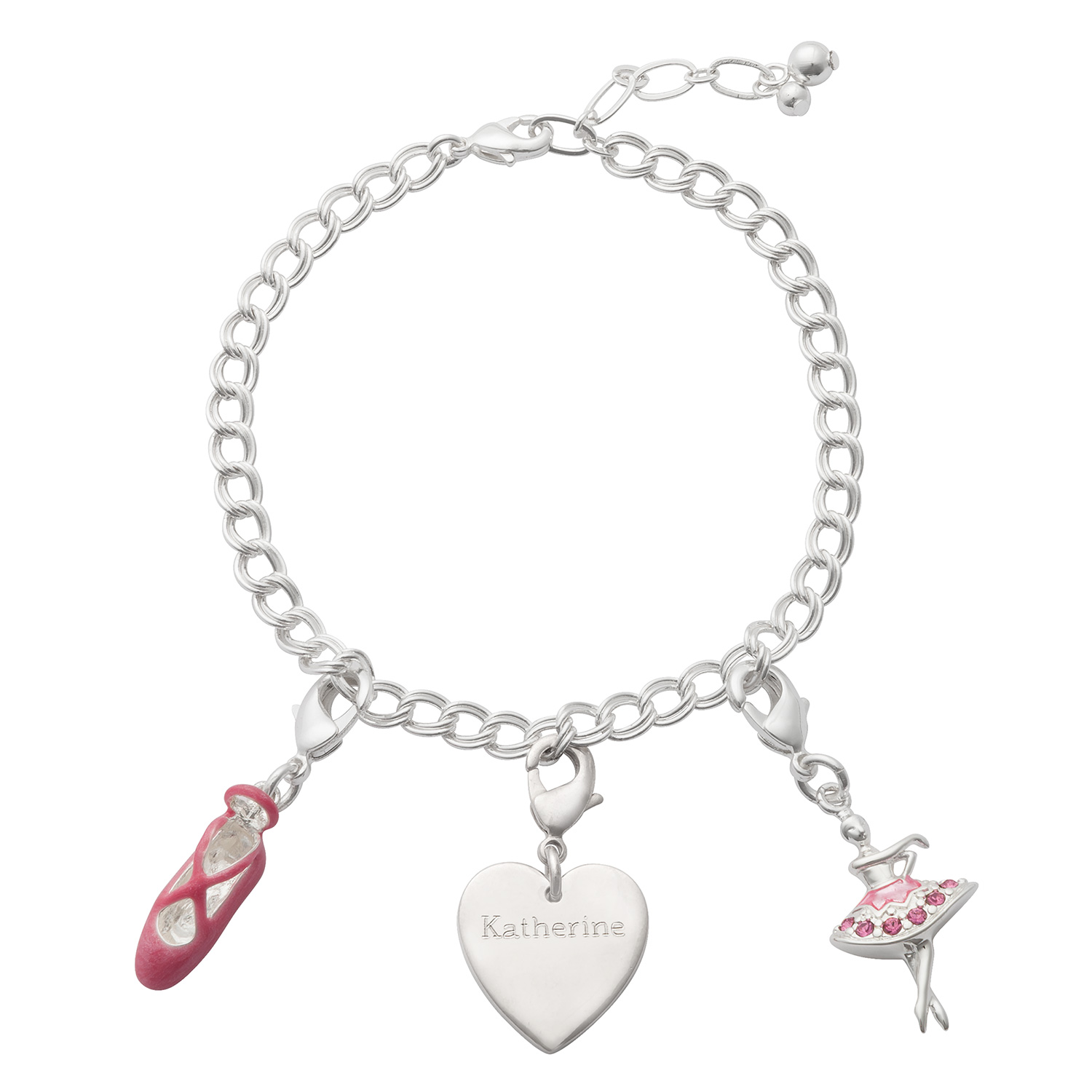 Ballet Charm Bracelet: Silver Charm Engraved Heart With Ballet Charms