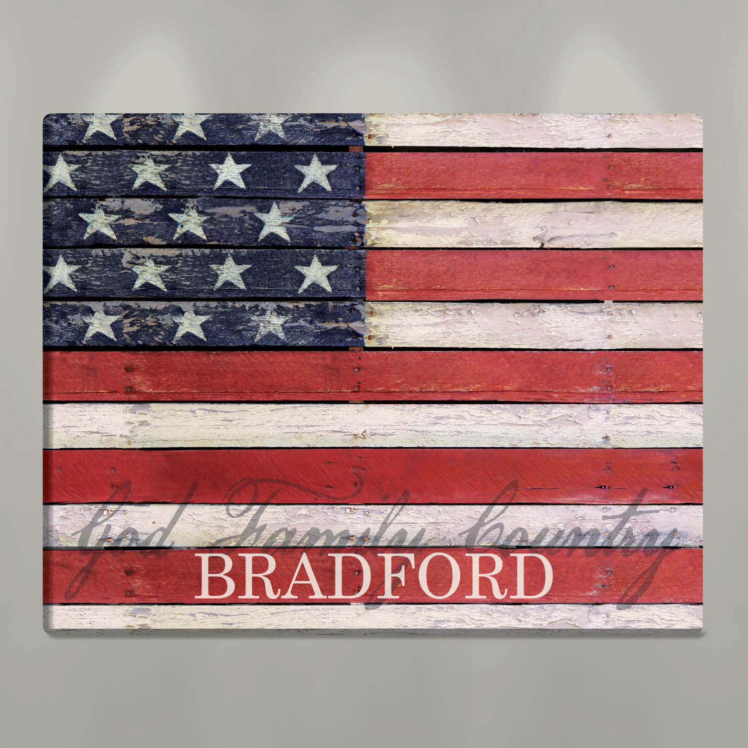 American Flag Personalized 18x24 Canvas